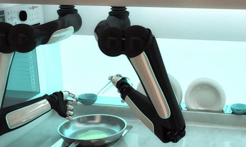 A robotic kitchen that will prepare your food.