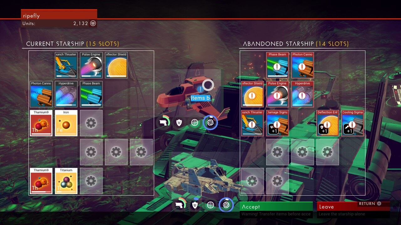 No ManS Sky Ship Slots