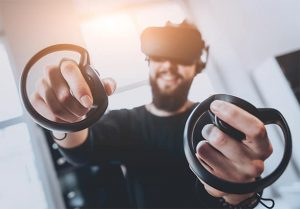 An image featuring Oculus VR concept with a person using the Oculus