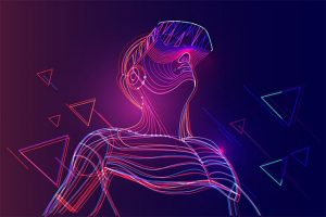 An image featuring a drawn person using Oculus representing VR games