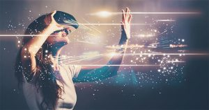 An image featuring a person that is using a virtual reality headset