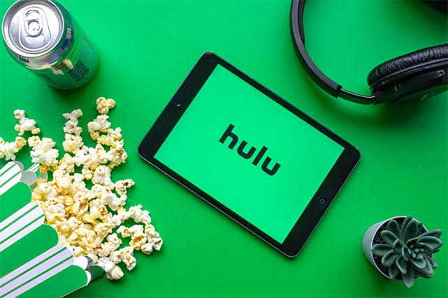 An image featuring Hulu opened on a tablet